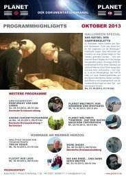 ProGrammHiGHliGHts oktober 2013 - Planet