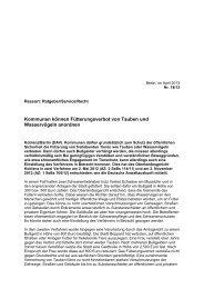 Nr. 18/13 – Kommunen können Fütterungsverbot von Tauben und ...