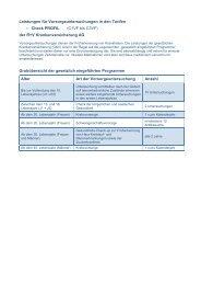 Übersicht Vorsorgeuntersuchungen Check PROFIL - R+V Maklerportal