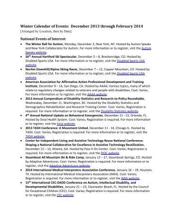 View or print the Winter Calendar of Events as a PDF document