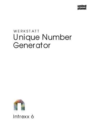 Intrexx Werkstatt - Unique Number Generator