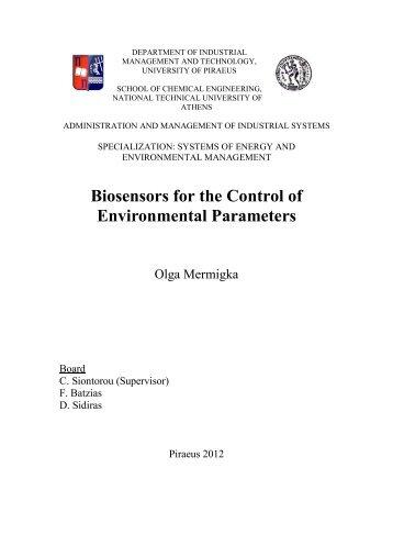 3. Biosensors for the control of environmental parameters