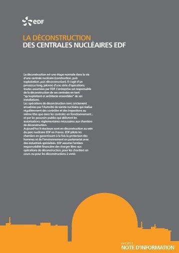 La déconstruction des centrales nucléaires - Edf