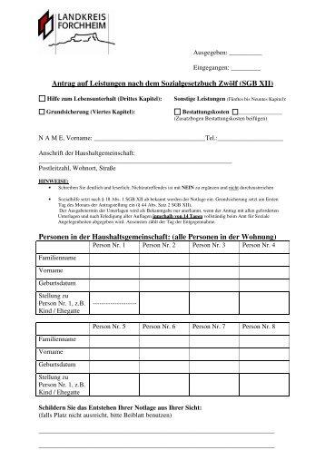 Antrag auf Leistungen nach SGB XII - Landkreis Forchheim