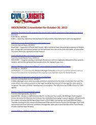 MDCR/MCRC E-newsletter for October 30, 2013 - State of Michigan