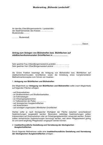 """Musterantrag """"Blühende Landschaft"""" - Bündnis 90/Die Grünen im ..."""