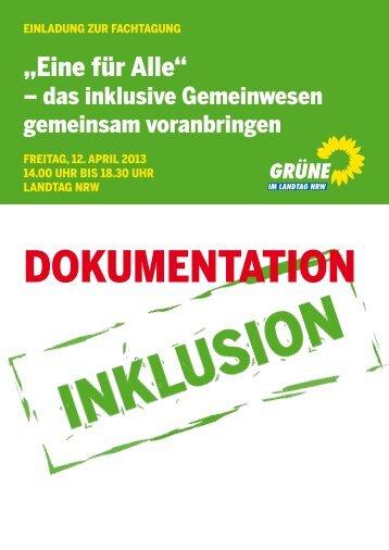 1310-Doku Eine fuer Alle - Bündnis 90/Die Grünen im Landtag NRW