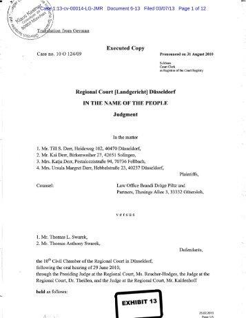 Executed Copy Regional Court [Landgericht ... - Letters Blogatory