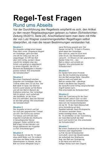 Regel-Test Fragen - NFV Kreis Uelzen