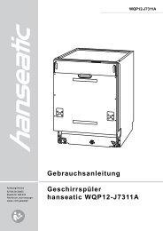 Gebrauchsanleitung Geschirrspüler hanseatic WQP12-J7311A