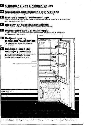 E] Gebrauchs- und Einbàuanleitung