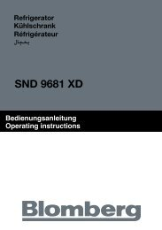 Bedienungsanleitung Operating instructions - Blomberg