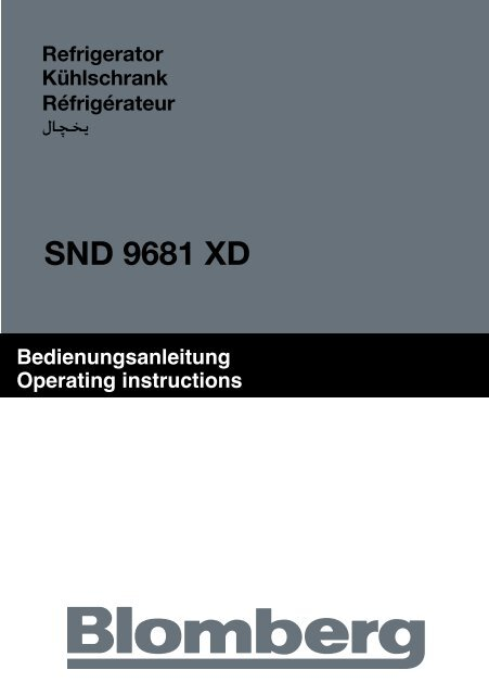 Bedienungsanleitung Operating instructions - Blomberg