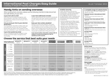 International Post Charges Easy Guide (326kb) - Australia Post
