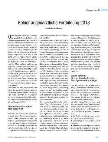 Kölner augenärztliche Fortbildung 2013 - Kaden Verlag