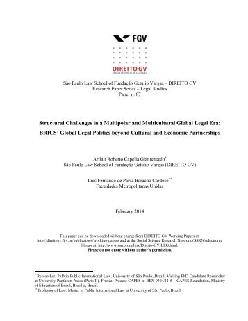 Structural Challenges in a Multipolar and Multicultural Global Legal ...