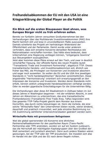 Freihandelsabkommen der EU mit den USA ist eine ... - deutschelobby