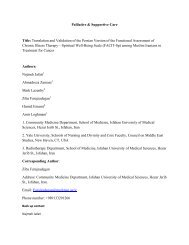 Palliative & Supportive Care Title: Translation and Validation of the ...