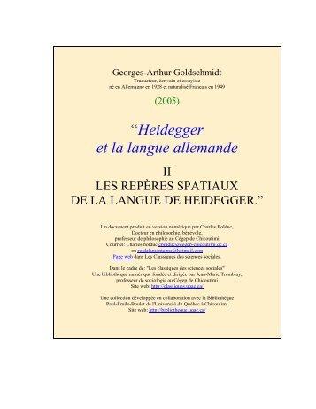 HEIDEGGER ET LA LANGUE ALLEMANDE - Les Classiques des ...