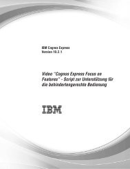 "Video ""Cognos Express Focus on Features"" - Script zur ..."
