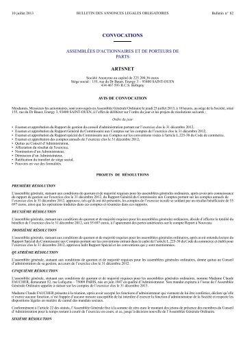 Convocation Assemblée générale ordinaire - StockProInfo