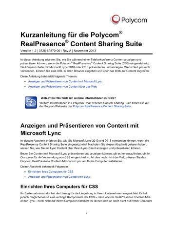 Kurzanleitung für die Polycom RealPresence Content Sharing Suite ...