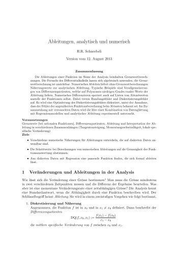 Ableitungen analytisch und numerisch - PDF [271 KB] - SwissEduc.ch