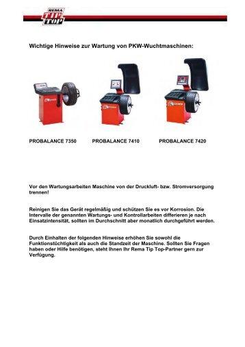Wartungshinweise PKW-Wuchtmaschinen Wichtige ... - tta-shop.de