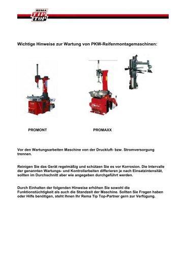Wichtige Hinweise zur Wartung von PKW ... - tta-shop.de