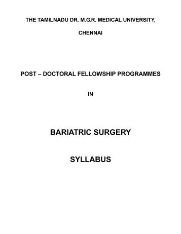 Bariatric Surgery - Tamil Nadu Dr. M G R Medical University