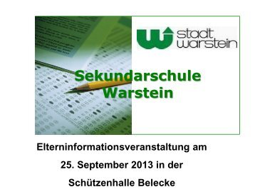 Präsentation Elterninformationsveranstaltung am 25.09 ... - Warstein