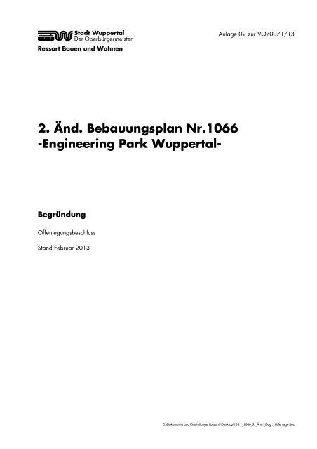 2. Änd. Bebauungsplan Nr.1066 -Engineering Park Wuppertal-