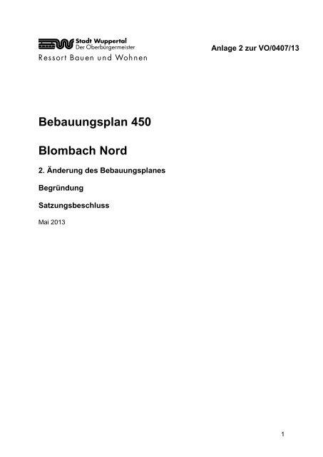 Bebauungsplan 450 - 2. Änderung - Stadt Wuppertal