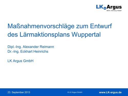 Maßnahmenvorschläge zum Entwurf des ... - Stadt Wuppertal
