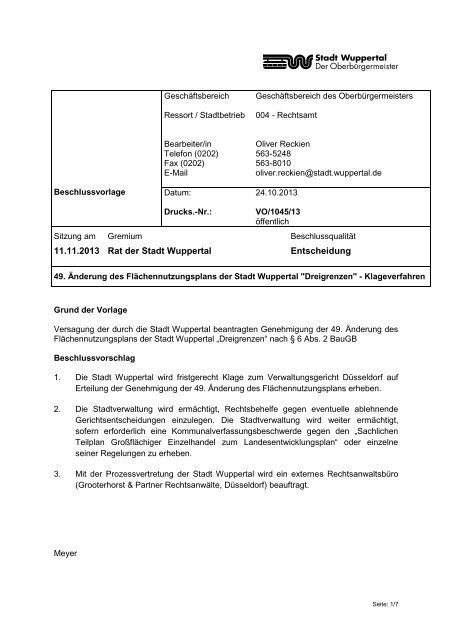 Ratsdrucksache zum Klageverfahren - Stadt Wuppertal