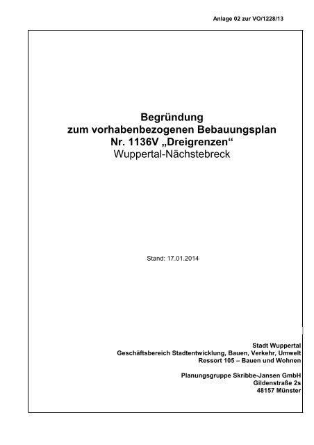 Bebauungsplan 1136V - Stadt Wuppertal