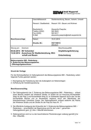 schaft und Bauen Entscheidung - Stadt Wuppertal