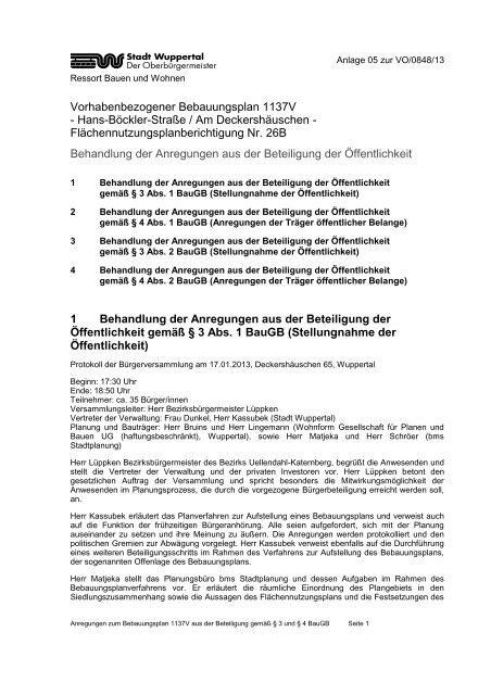 Vorhabenbezogener Bebauungsplan 1137V ... - Stadt Wuppertal