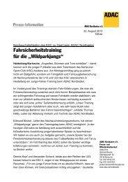 """Fahrsicherheitstraining fΩr die łWildparkàungs"""" - ADAC"""