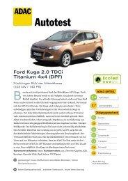 Umfassender Test Ford Kuga 2.0 TDCi Titanium 4x4 - ADAC