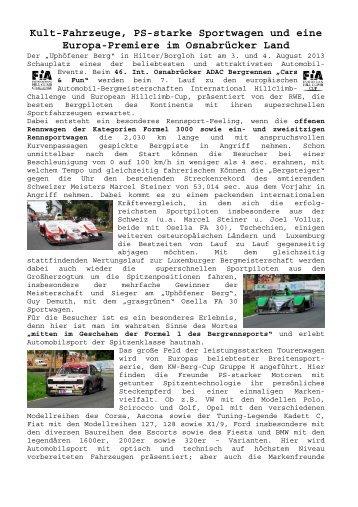 Kult-Fahrzeuge, PS-starke Sportwagen und eine Europa ... - ADAC
