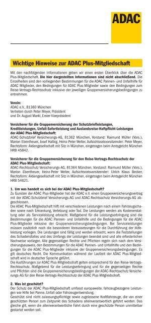 Wichtige Hinweise Zur Adac Plus Mitgliedschaft Adac Hansa