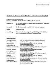 Weitere Informationen zu den einzelnen Künstlern - Akademie der ...