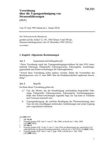 Verordnung über die Typengenehmigung von ... - CH