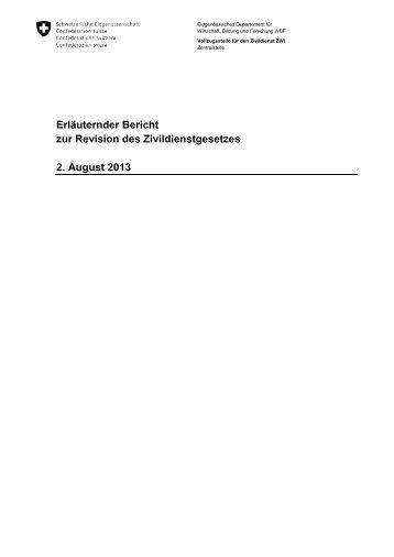 Erläuternder Bericht zur Revision des Zivildienstgesetzes ... - admin.ch