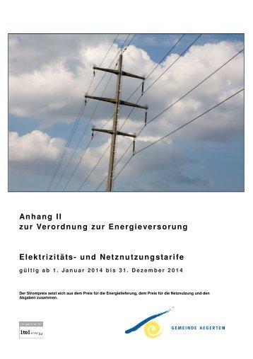 Verordnung über die Energieversorgung - Anhang 2 - Aegerten