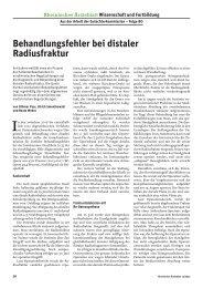 Behandlungsfehler bei distaler Radiusfraktur - Ärztekammer Nordrhein