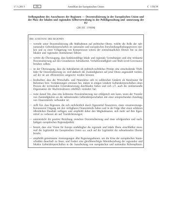 Stellungnahme des Ausschusses der Regionen ...