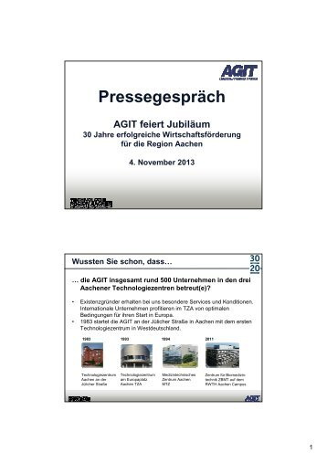 """""""30 Jahre AGIT"""" - Zahlen und Fakten"""