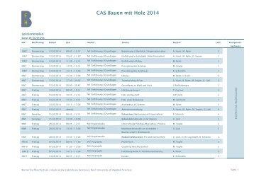 CAS Bauen mit Holz 2014 - Hochschule für Architektur, Holz und ...